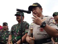 Dengan Heli dari Pekanbaru Kapolri dan Panglima TNI Tinjau Kebakaran Hutan di Rupat,
